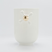 Porcelain Coffee Mug with Faucet Handle Decorated with Genuine Gold