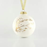 Christmas Ornament with Delicate Gold Winter Twig