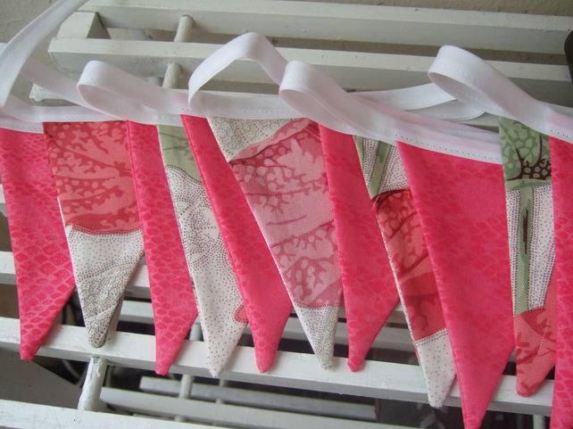 Bunting in Botanical and Pink Fabrics