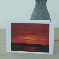 Art Greetings Cards - Red Sunset