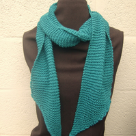 Hand Knit Scarf, Teal