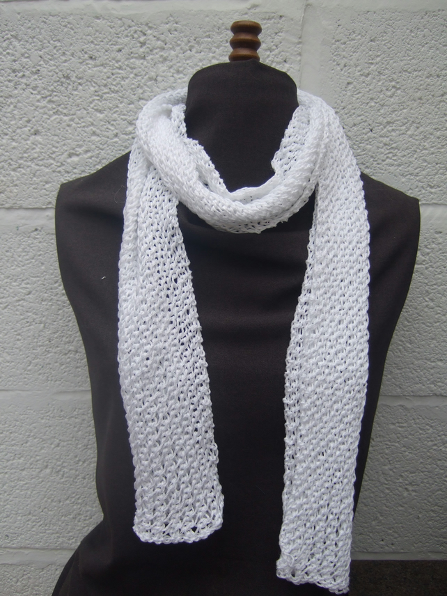White Hand Knit Scarf in Cotton