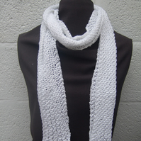 White Hand Knit Scarf in Cotton - Free UK P&P