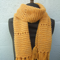 Hand Knit Scarf in Mustard Chunky Yarn - Free UK P&P