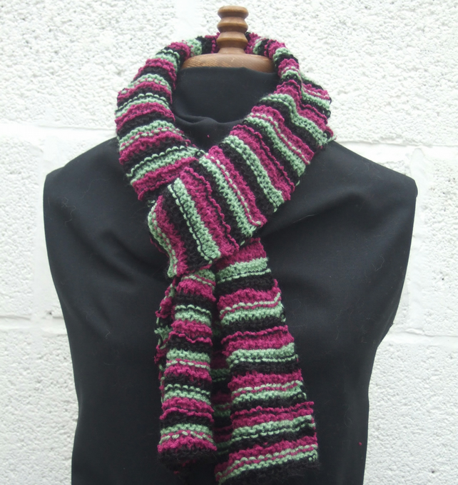 Plum Stripy Scarf