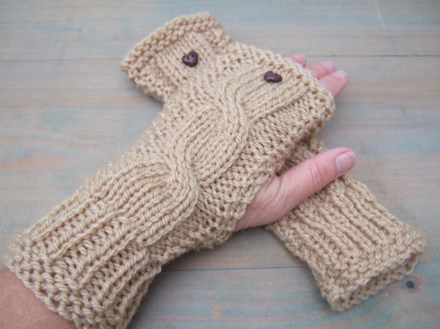 Fingerless Gloves with Heart Button, Camel Ladies Wristwarmers, Valentine Gift