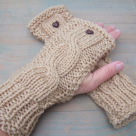 Aran Wrist Warmers, Hand Knit Fingerless Gloves, Ladies Camel Gloves