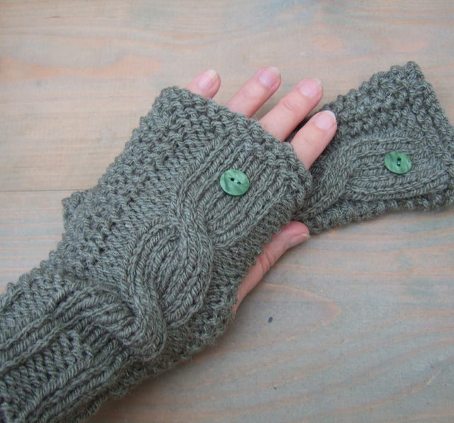 Green Knitted Wristwarmers, Fingerless Gloves