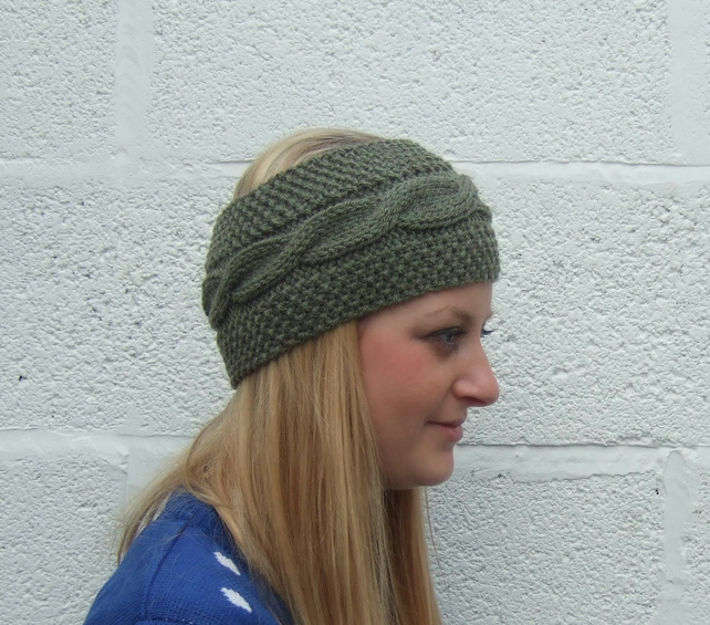 Green Hand Knit Headband