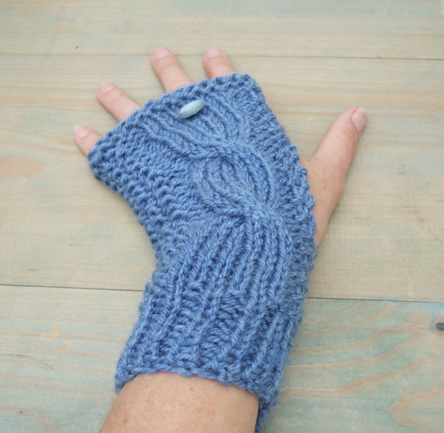 Blue  Hand Knitted Wristwarmers, Fingerless Gloves