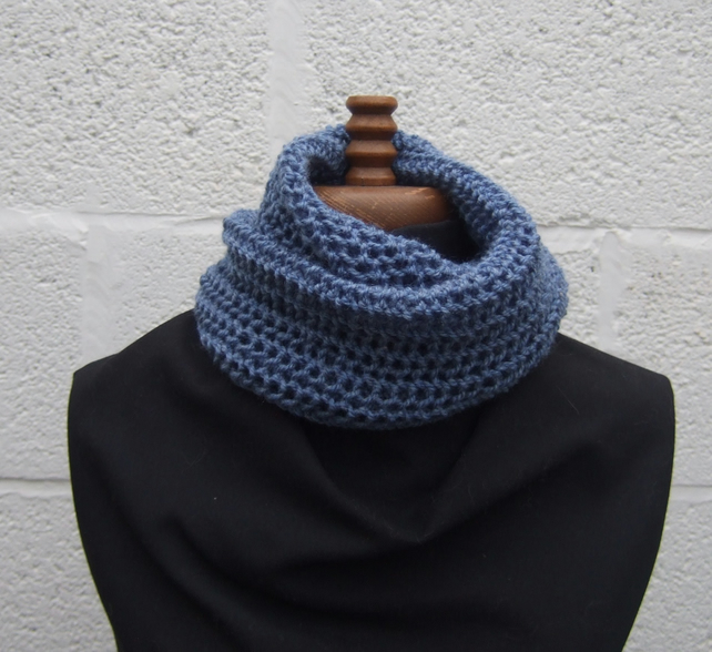 Knitted Blue Cowl Scarf