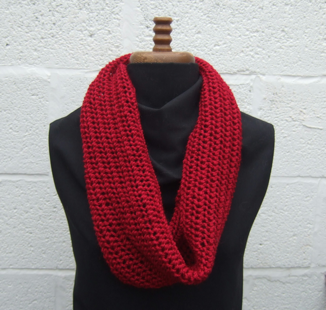 Red Hand Knitted Cowl, Infinity Scarf