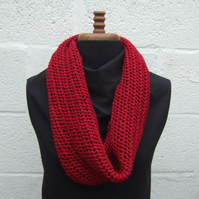 Red Hand Knitted Cowl - Infinity Scarf