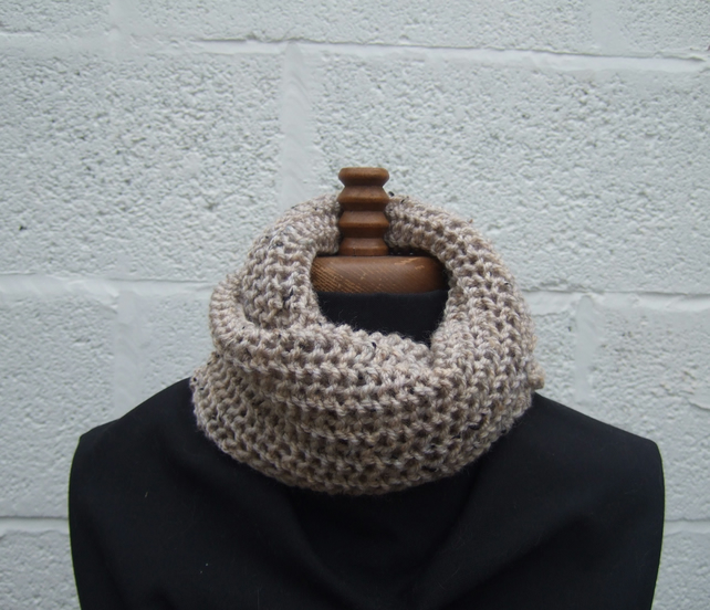 Hand Knitted Cowl, Circular Scarf