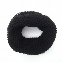Cowl Scarf in Black Aran