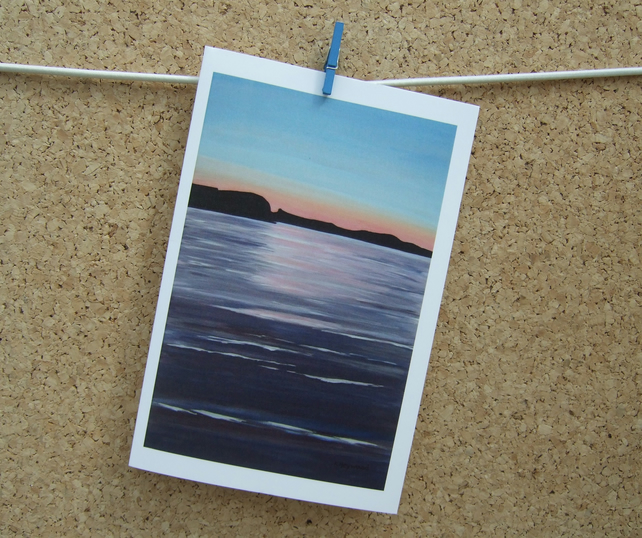 Art Card, Sunset, Peaceful Seascape