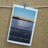 Art Greetings Card - Coastal Sunset - Peaceful Seascape