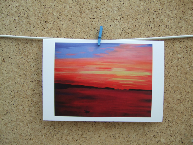 Art Card, Colourful Summer Sunset, Seascape