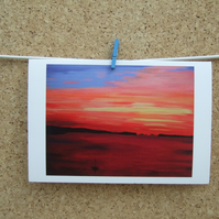 Greetings Card - Colourful Summer Sunset - Coastal Seascape