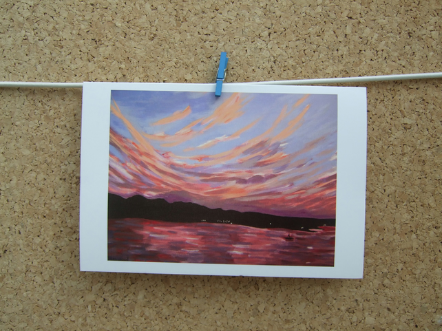 Art Greetings Card - Colourful Pink Sunset - Seascape