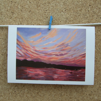 Art Greetings Card, Colourful Pink Sunset, Seascape