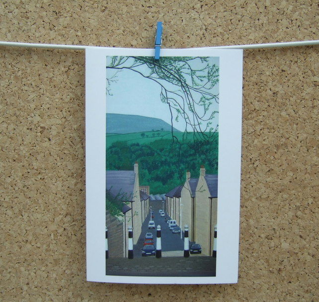 Art Greetings Card - Maurice Street - Nelson - Lancashire - Pendle Hill