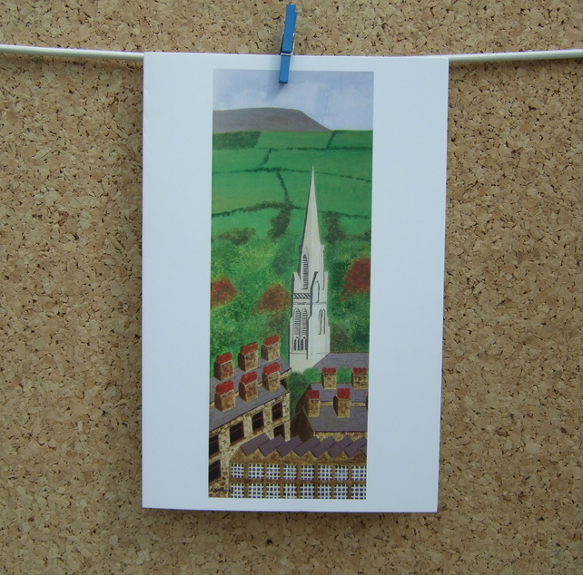 Art Card St. Mary's Steeple, Nelson, Lancashire, Pendle Hill