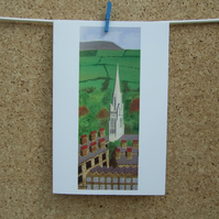 Art Greetings Card - St. Mary's Steeple - Nelson - Lancashire - Pendle Hill