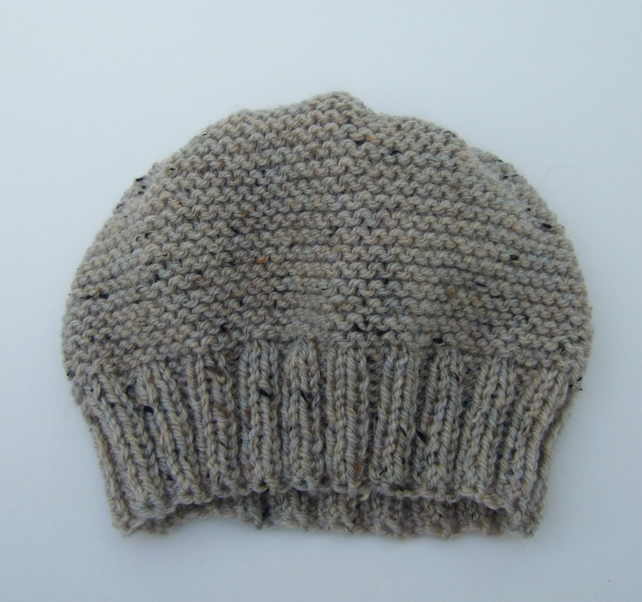 Hand Knitted Beanie Hat in Oatmeal