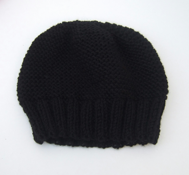 Black Hand Knitted Beanie Hat