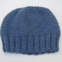 Hand Knitted Blue Beanie Hat