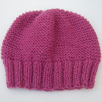Petunia Pink Hand Knitted Beanie Hat