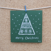 Christmas Card, Green, Snowflake, Christmas Tree, Hand Painted, Fair Isle