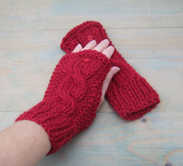 Valentine's Day Gift, Red Cable Knit Fingerless Gloves, Ladies Wristwarmers,