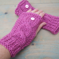 Pink Cable Knit Fingerless Gloves