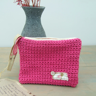 Small Pink Crocheted Cotton Clutch Bag