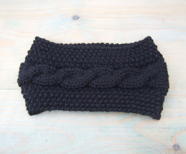Black Hand Knitted Headband