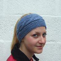 Hand Knitted Blue Headband