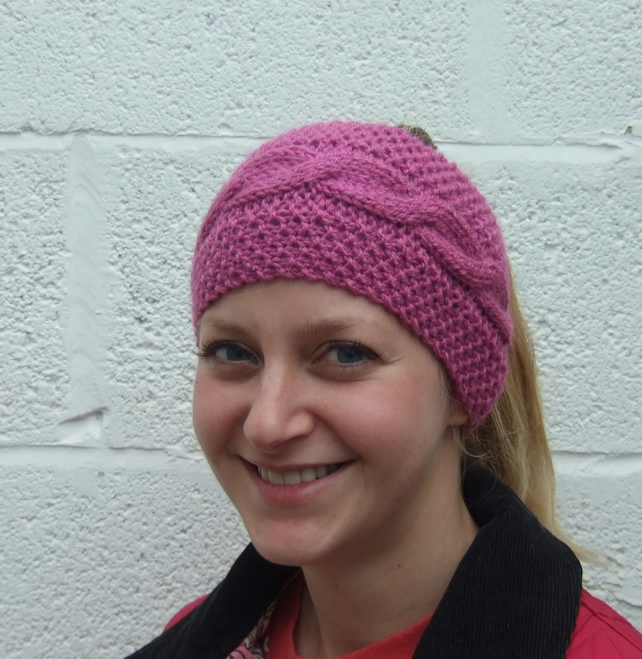 Pink Hand Knitted Headband