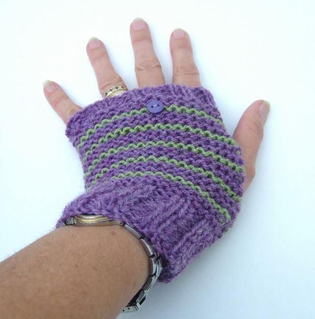 Stripy Fingerless Gloves, Heather and Fern Green