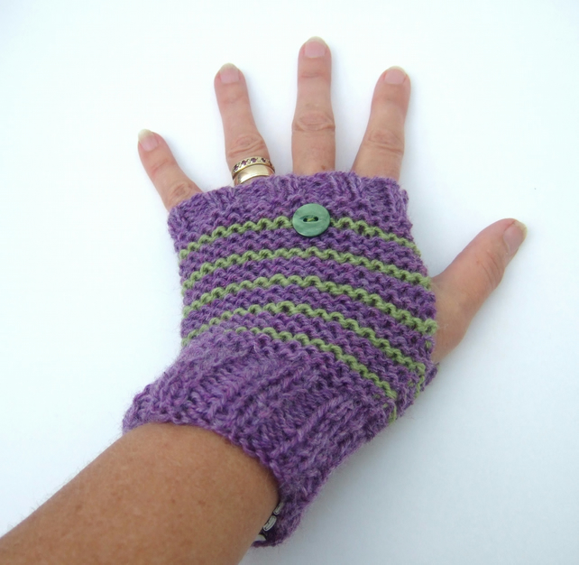 Hand Knit Striped Fingerless Gloves - Folksy