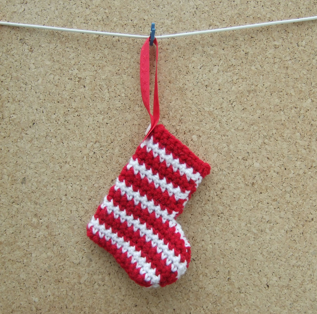 Christmas Tree Decoration, Stripy Stocking