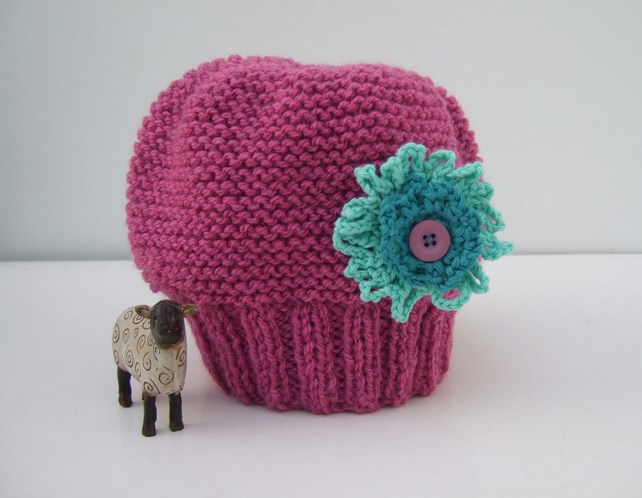 Pink Hat with Turquoise Flower