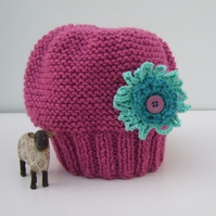 Pink Hat with Aquamarine Crocheted Flower