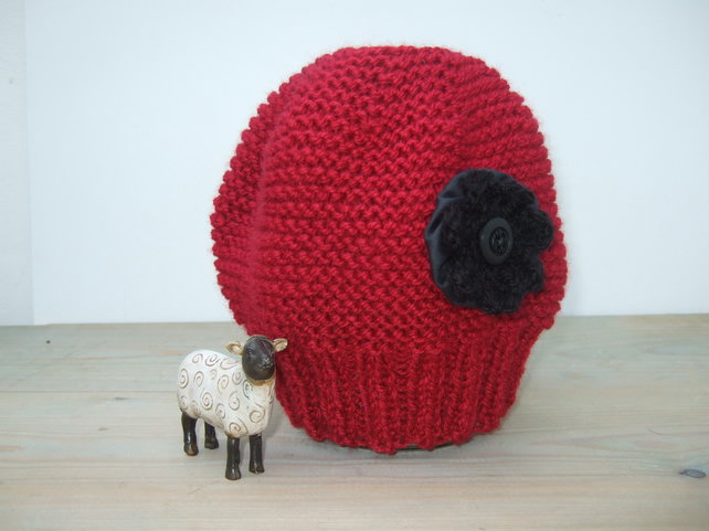 Red Beanie Hat with Black Flower