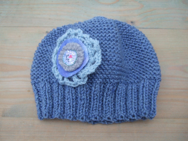 Blue Hat, Hand Knitted in Aran with Decorative Flower
