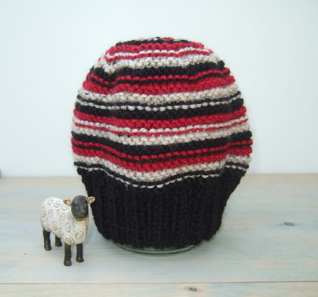 Stripy Hand Knitted Beanie Hat - Free UK P&P