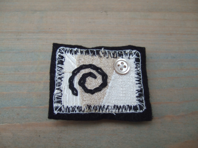 Textile Brooch, Cream and Black