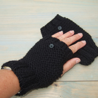 Black Hand Knit Fingerless Gloves