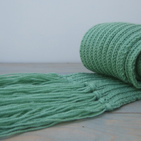 Long Green Scarf with Tassel Fringe